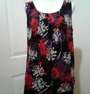 🌺 212 Collection Sheer Overlay Lined Blouse EUC
